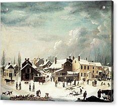 Winter Scene In Brooklyn Acrylic Print by Francis Guy