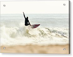 Winter Surfer On Sunny Day Acrylic Print by Erin Cadigan