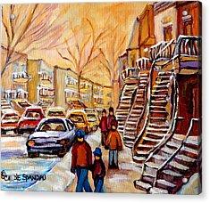 Winter Walk In Montreal Acrylic Print by Carole Spandau
