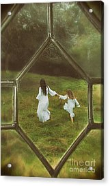 Woman And Child Through Window Acrylic Print