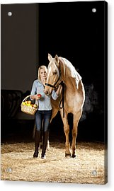 Woman And Horse With Apples Acrylic Print by Wolfgang Steiner