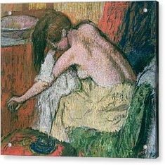 Woman Drying Herself Acrylic Print by Edgar Degas