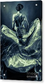 Woman In A Billowing Blue Gown Acrylic Print