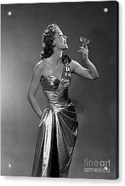Woman In Metallic Dress, C.1950s Acrylic Print by Debrocke/ClassicStock