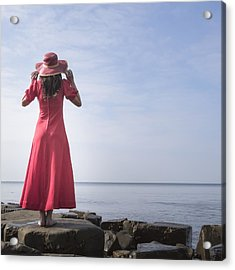 Woman In Red Dress Acrylic Print