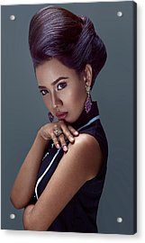 Woman With Beehive Hairstyle Acrylic Print