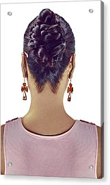 Woman With Bun Hairstyle Acrylic Print