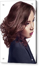 Woman With Messy Tousle And Center Part Acrylic Print