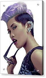 Woman With Short Hairstyle In Purple Shade Hair Color Acrylic Print