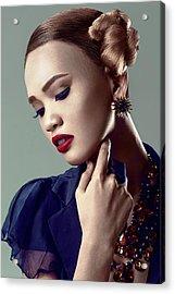 Woman With Side Bun Hairstyle Acrylic Print