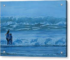 Women In The Surf Acrylic Print by Jenny Armitage