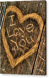 Wood Carving I Love You Acrylic Print by Connie Cooper-Edwards