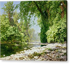 Wooded Riverscape Acrylic Print by Leopold Rolhaug