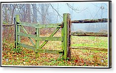Wooden Fence On A Foggy Morning Acrylic Print