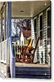 Wooden Rocking Chairs On Porch Acrylic Print