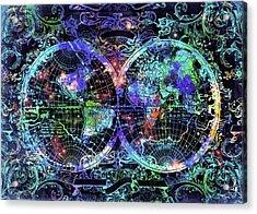 World Map Antique 12 Acrylic Print by Bekim Art