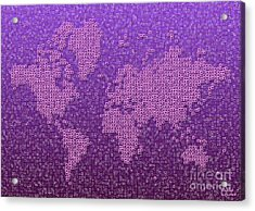 World Map Kotak In Purple Acrylic Print
