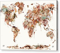 Acrylic Print featuring the painting World Map Watercolors by Bri B
