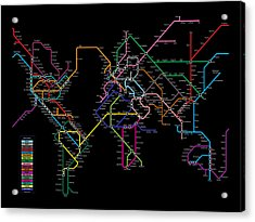 World Metro Map Acrylic Print by Michael Tompsett