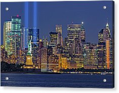 Acrylic Print featuring the photograph World Trade Center Wtc Tribute In Light Memorial II by Susan Candelario