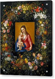 Wreath With Madonna And Child Acrylic Print by Jan Brueghel the Elder