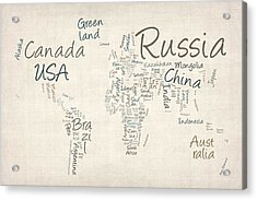 Writing Text Map Of The World Map Acrylic Print by Michael Tompsett