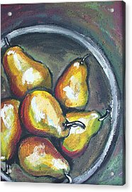 Acrylic Print featuring the painting Yellow Pears by Sarah Crumpler