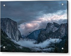 Yosemite In Clouds Acrylic Print