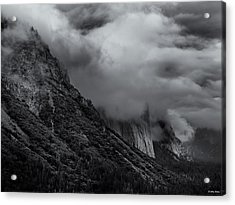Yosemite Valley Panorama In Black And White Acrylic Print