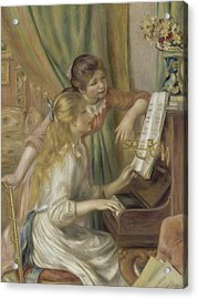 Young Girls At The Piano Acrylic Print by Auguste Renoir