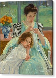 Young Mother Sewing Acrylic Print by Mary Stevenson Cassatt