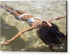 Young Woman In The Water Acrylic Print by Brandon Tabiolo - Printscapes