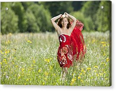 Young Woman With Cloth In A Flower Meadow Acrylic Print