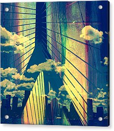 Zakim Bridge Boston V4 Acrylic Print by Brandi Fitzgerald