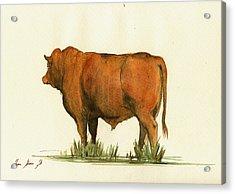 Zebu Cattle Art Painting Acrylic Print by Juan  Bosco