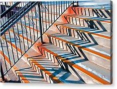 Zig Zag Shadows On Train Station Steps Acrylic Print