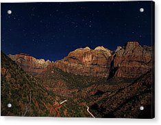 Zion Under The Stars Acrylic Print by Andrew Soundarajan
