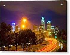 Downtown Of Charlotte  North Carolina Skyline Acrylic Print by Alex Grichenko