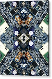 Computer Circuit Board Kaleidoscopic Design Acrylic Print