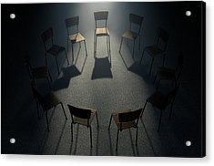 Group Therapy Chairs Acrylic Print by Allan Swart