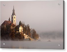 Misty Lake Bled Acrylic Print by Ian Middleton