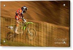 Motocross Acrylic Print by Angel  Tarantella
