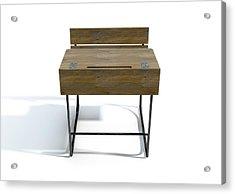 Vintage Wooden School Desk Acrylic Print by Allan Swart