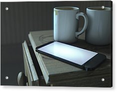 Bedside Table And Cellphone Acrylic Print by Allan Swart