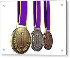 First Second And Third Medals Acrylic Print by Allan Swart