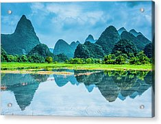 Karst Rural Scenery In Raining Acrylic Print