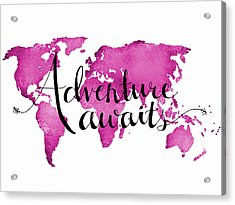 12x16 Adventure Awaits Pink Map Acrylic Print by Michelle Eshleman