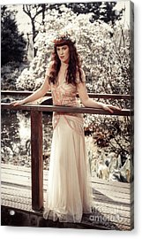 Woman In Spring Blossom Acrylic Print