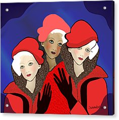 1391 - Three Chicks In Red 2017 Acrylic Print