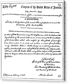13th Amendment, 1865 Acrylic Print by Granger